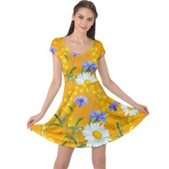 Flowers Daisy Floral Yellow Blue Cap Sleeve Dress