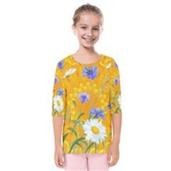 Flowers Daisy Floral Yellow Blue Kids  Quarter Sleeve Raglan Tee