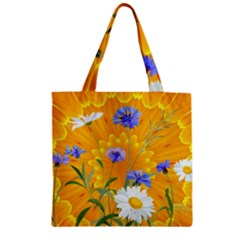 Flowers Daisy Floral Yellow Blue Zipper Grocery Tote Bag