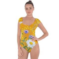 Flowers Daisy Floral Yellow Blue Short Sleeve Leotard
