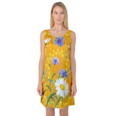 Flowers Daisy Floral Yellow Blue Sleeveless Satin Nightdress