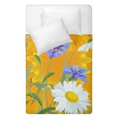 Flowers Daisy Floral Yellow Blue Duvet Cover Double Side (single Size) by Nexatart