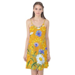 Flowers Daisy Floral Yellow Blue Camis Nightgown