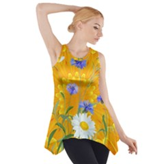 Flowers Daisy Floral Yellow Blue Side Drop Tank Tunic