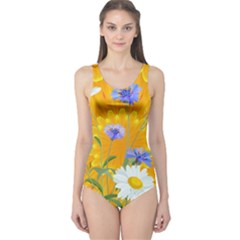 Flowers Daisy Floral Yellow Blue One Piece Swimsuit