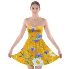 Flowers Daisy Floral Yellow Blue Strapless Bra Top Dress