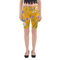 Flowers Daisy Floral Yellow Blue Yoga Cropped Leggings