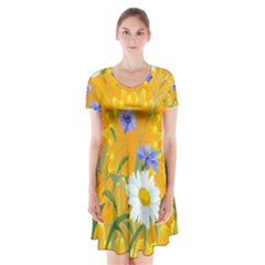 Flowers Daisy Floral Yellow Blue Short Sleeve V Neck Flare Dress