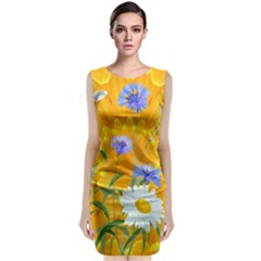Flowers Daisy Floral Yellow Blue Classic Sleeveless Midi Dress