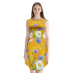 Flowers Daisy Floral Yellow Blue Sleeveless Chiffon Dress