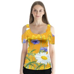 Flowers Daisy Floral Yellow Blue Butterfly Sleeve Cutout Tee