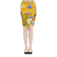 Flowers Daisy Floral Yellow Blue Midi Wrap Pencil Skirt