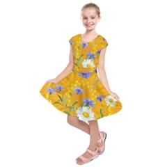 Flowers Daisy Floral Yellow Blue Kids  Short Sleeve Dress