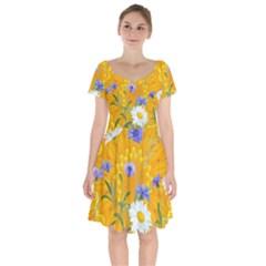 Flowers Daisy Floral Yellow Blue Short Sleeve Bardot Dress