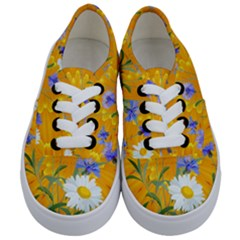Flowers Daisy Floral Yellow Blue Kids  Classic Low Top Sneakers