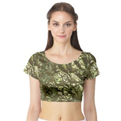 Seamless Repeat Repetitive Short Sleeve Crop Top