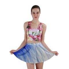 Feather Blue Colored Mini Skirt
