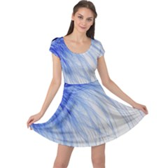 Feather Blue Colored Cap Sleeve Dress