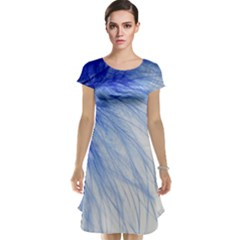 Feather Blue Colored Cap Sleeve Nightdress