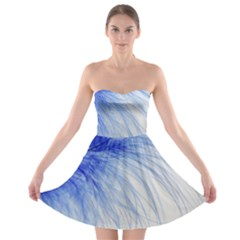 Feather Blue Colored Strapless Bra Top Dress