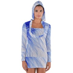 Feather Blue Colored Long Sleeve Hooded T Shirt