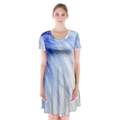 Feather Blue Colored Short Sleeve V Neck Flare Dress