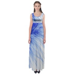 Feather Blue Colored Empire Waist Maxi Dress