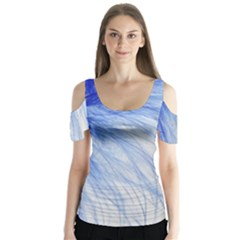 Feather Blue Colored Butterfly Sleeve Cutout Tee