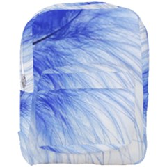 Feather Blue Colored Full Print Backpack by Nexatart