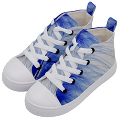 Feather Blue Colored Kid s Mid Top Canvas Sneakers by Nexatart
