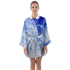 Feather Blue Colored Long Sleeve Kimono Robe