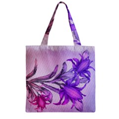 Flowers Flower Purple Flower Zipper Grocery Tote Bag by Nexatart