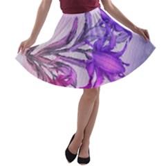 Flowers Flower Purple Flower A Line Skater Skirt