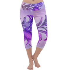 Flowers Flower Purple Flower Capri Yoga Leggings