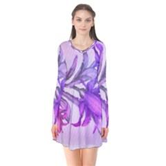Flowers Flower Purple Flower Flare Dress