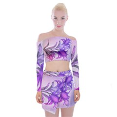 Flowers Flower Purple Flower Off Shoulder Top With Mini Skirt Set