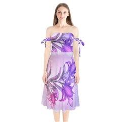 Flowers Flower Purple Flower Shoulder Tie Bardot Midi Dress