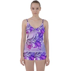Flowers Flower Purple Flower Tie Front Two Piece Tankini