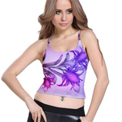 Flowers Flower Purple Flower Spaghetti Strap Bra Top