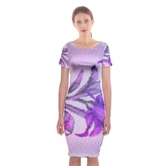 Flowers Flower Purple Flower Classic Short Sleeve Midi Dress