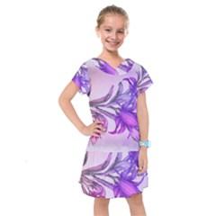 Flowers Flower Purple Flower Kids  Drop Waist Dress