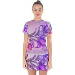 Flowers Flower Purple Flower Drop Hem Mini Chiffon Dress