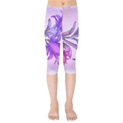Flowers Flower Purple Flower Kids  Capri Leggings