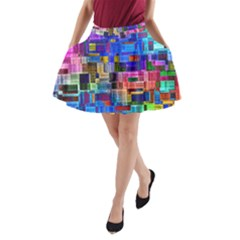 Background Art Abstract Watercolor A Line Pocket Skirt