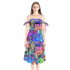 Background Art Abstract Watercolor Shoulder Tie Bardot Midi Dress
