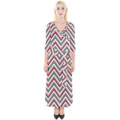 Chevron Blue Pink Quarter Sleeve Wrap Maxi Dress