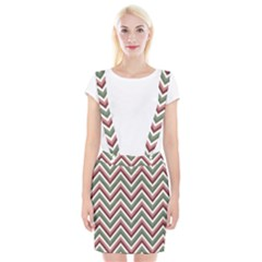 Chevron Blue Pink Braces Suspender Skirt