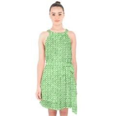 Knittedwoolcolour2 Halter Collar Waist Tie Chiffon Dress