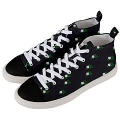 Pink Flowers On Black Big Men s Mid Top Canvas Sneakers by snowwhitegirl