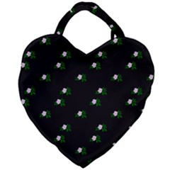 Pink Flowers On Black Big Giant Heart Shaped Tote
